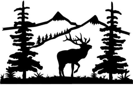 Elk by mountains